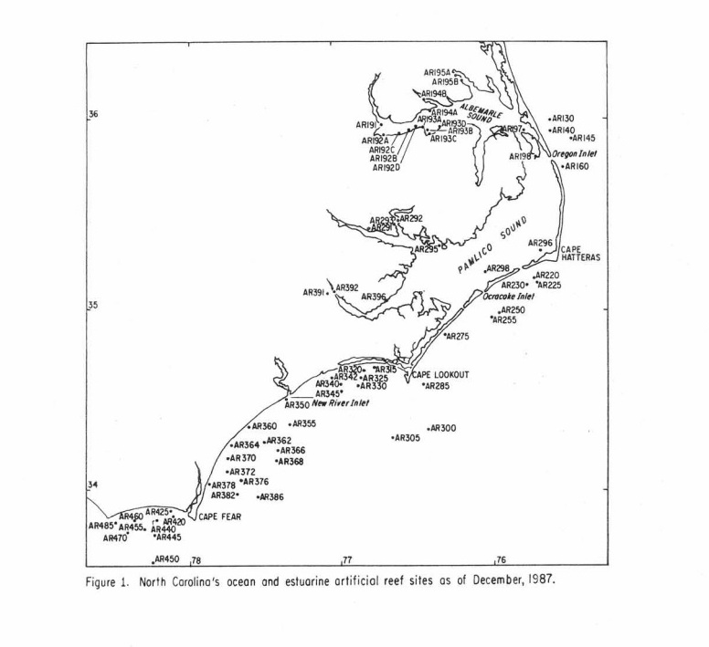 NC Artificial Reefs as of 1987