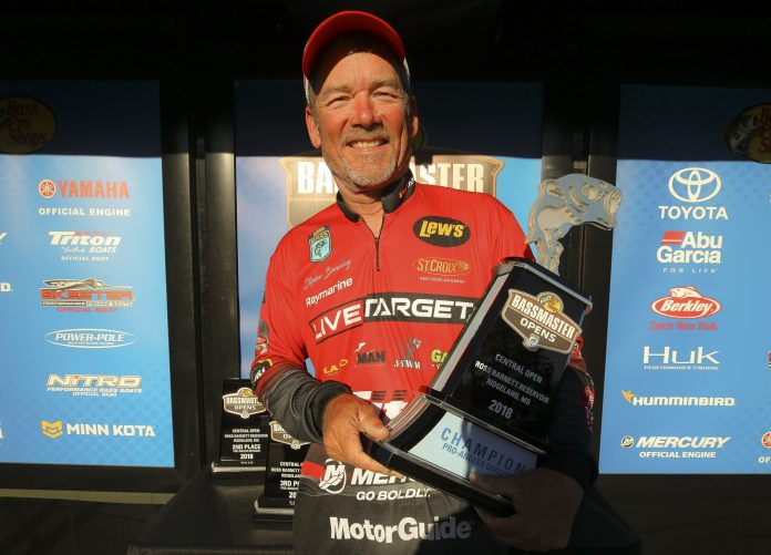 Stephen Browning of Hot Springs, Ark., won the Bass Pro Shops Bassmaster Central Open No. 1 held on Ross Barnett Reservoir out of Ridgeland, Miss., with a three-day total of 44 pounds. Photo by: James Overstreet/B.A.S.S