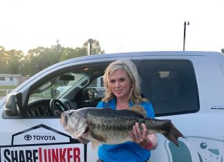 Stacy Spriggs with her 13.06 pound ShareLunker from Sam Rayburn!!