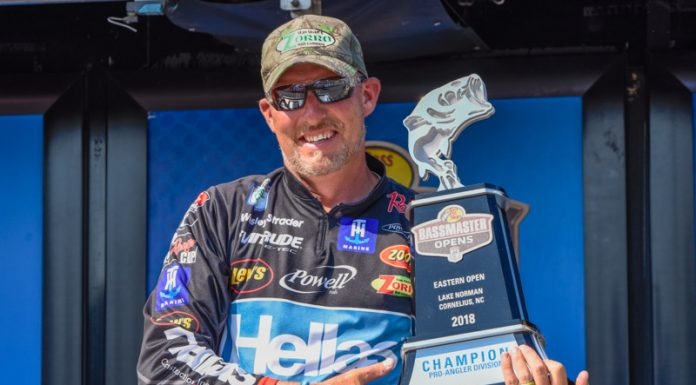 Wesley Strader of Spring City, Tenn., won the 2018 Bass Pro Shops Bassmaster Eastern Open No. 2 held on Lake Norman out of Cornelius, N.C., with a three-day total of 40 pounds.
