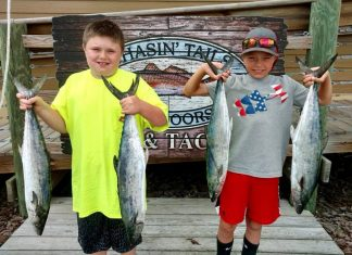 Landen and Brett with a hand full of 5lb + SPANISH, caught just off the beach at the reefs. Great Job Guys!