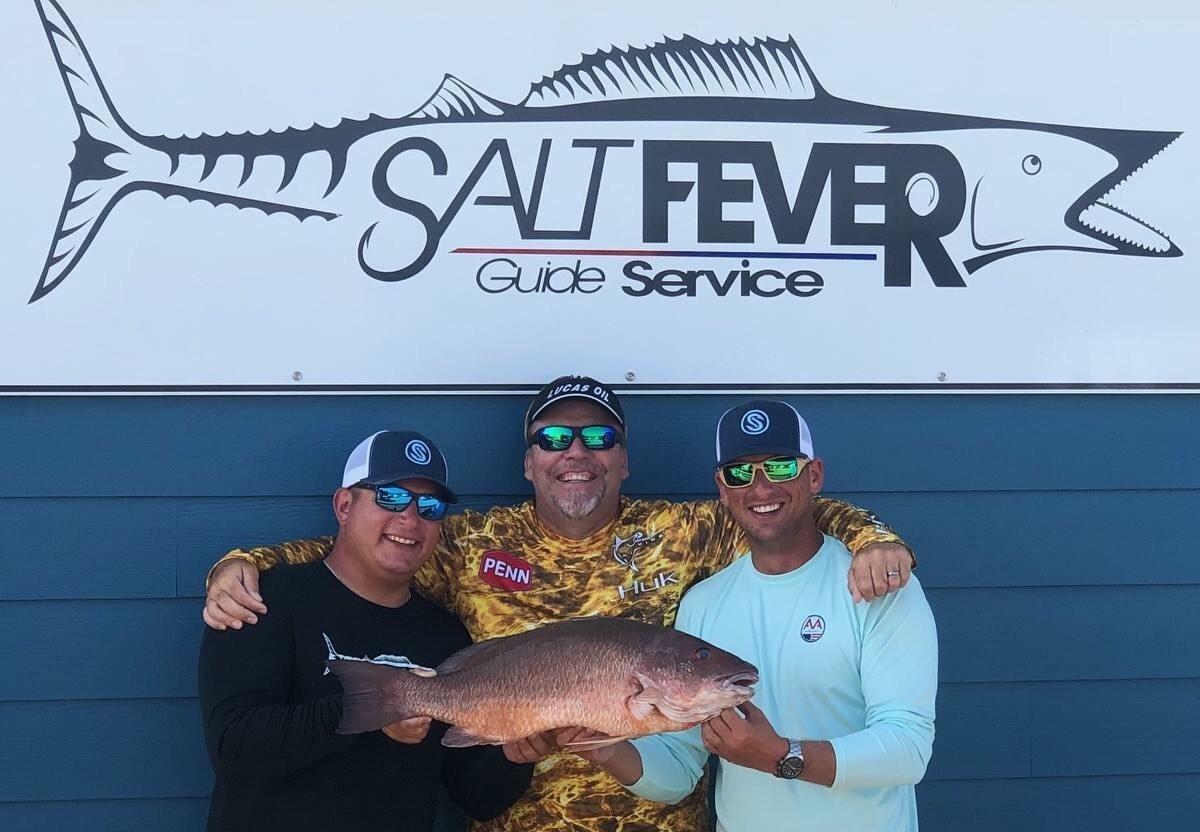 Nick Palombi, Mark Davis, Capt Steve Boomer Montgomery - NC state record gray (mangrove) snapper