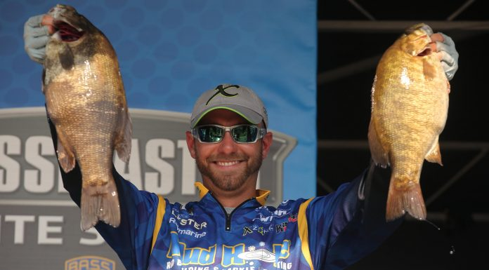 Brandon Lester of Fayetteville, Tenn., takes the lead on the second day of the 2018 Huk Bassmaster Elite at St. Lawrence River presented by Black Velvet, with a two-day total weight of 50 pounds, 1 ounce. Photo by: Seigo Saito/B.A.S.S.